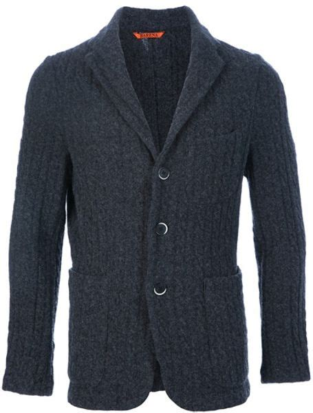 knitted blazers barena knit blazer in gray for grey lyst