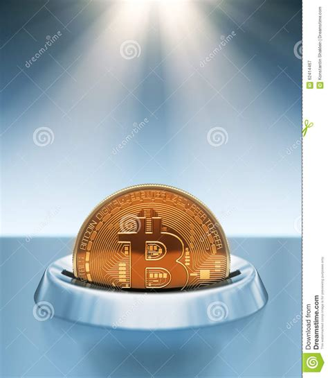 putting lights on a timer putting bitcoin into coin slot in the rays of light stock