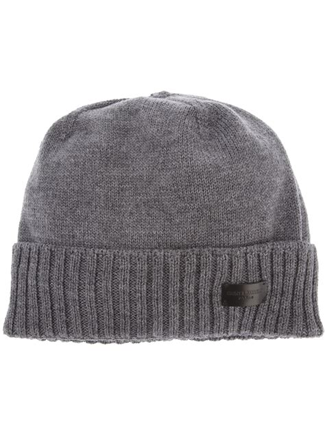 grey knit beanie laurent knit beanie in gray for grey lyst
