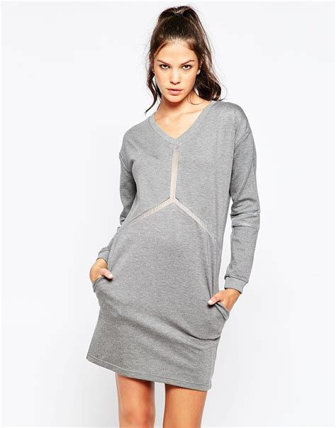 grey knit dress eleven knit dress with sheer detail in gray lyst