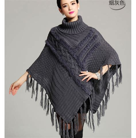 womens knit poncho 40 winter womens boho black even knit turtleneck