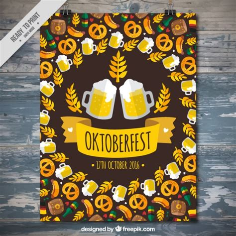 poster for poster for oktoberfest with traditional elements vector