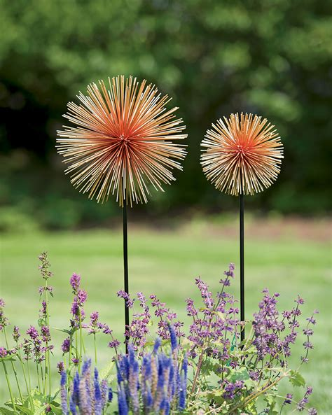 metal garden flowers outdoor decor metal flowers set of 2 allium sunburst stakes