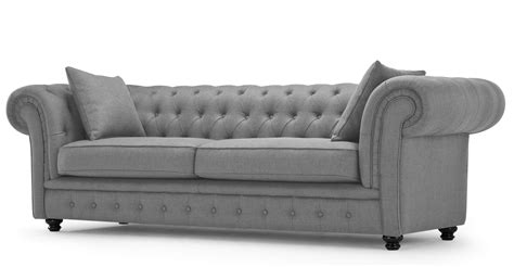 branagh 3 seater grey chesterfield sofa made