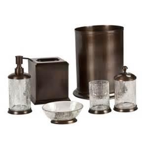 rubbed bronze bathroom accessories set orb crackle glass and rubbed bronze bath accessories