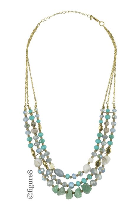 layered beaded necklaces gold chain mult layered beaded necklace in gold blue by