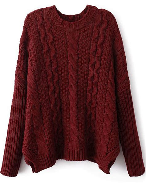 sweater knit wine sleeve cable knit sweater shein