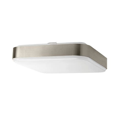 square flush mount ceiling light hton bay 14 in 1 light brushed nickel led square
