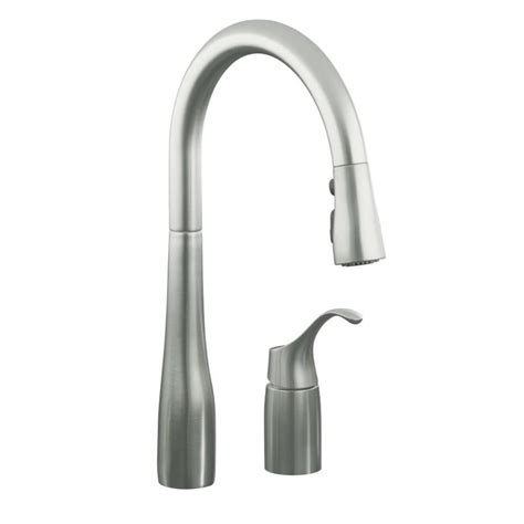 how to install kohler kitchen faucet shop kohler simplice vibrant stainless 1 handle deck mount pull sweep kitchen faucet at