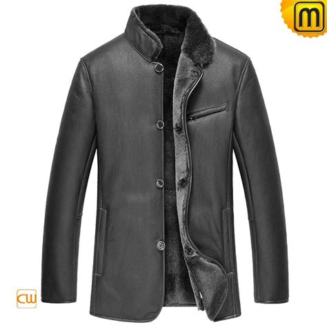 leather and shearling jacket mens leather sheepskin jacket cw852205