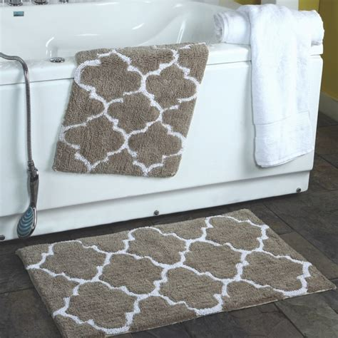 how to bathroom rugs 2 moroccan trellis 100 percent cotton bath rug set