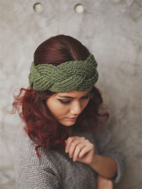 knitting patterns for headbands new braided olive knit headband warmer ear by