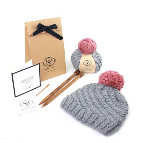 knitting kit make your own beginner s pom pom hat knitting kit by