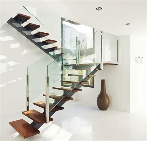 glass design ideas interior modern stairs designs with wooden treads and