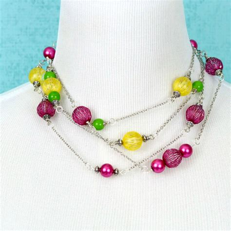 diy bead jewelry bright diy beaded necklace happy hour projects
