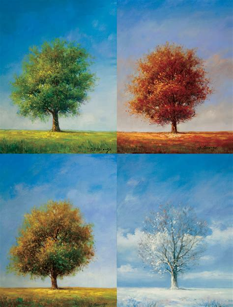 all tree tree of four seasons canvas painting