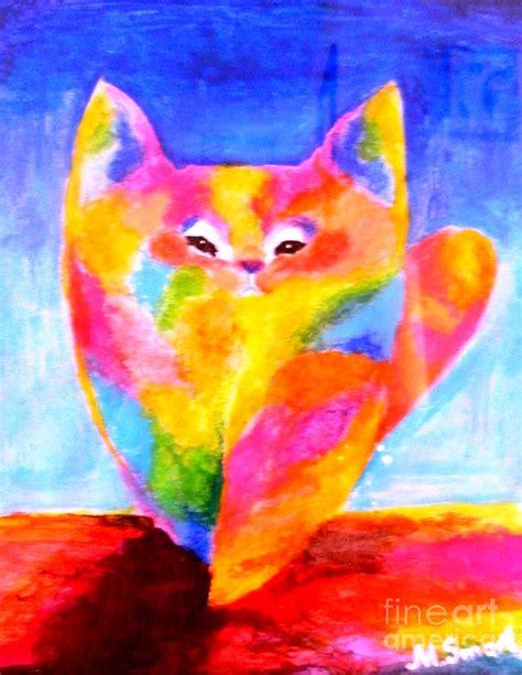 rainbow cat painting rainbow cat painting by marina