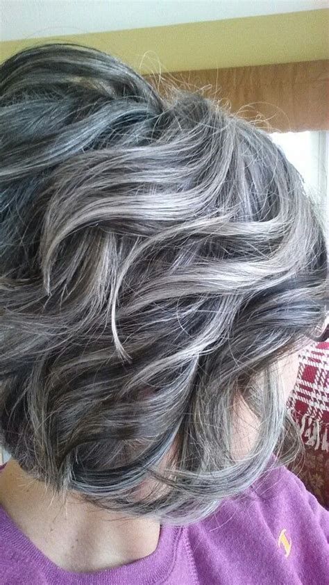 gray hair with lowlights brunette to grey hair transition short hairstyle 2013