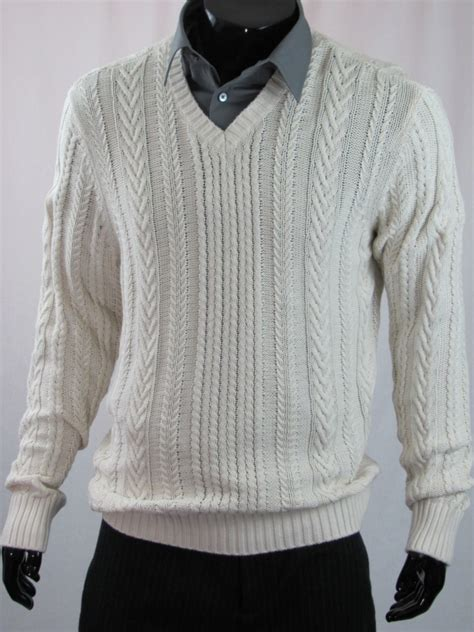 mens white cable knit sweater vince mens cable knit v neck sweater white ebay