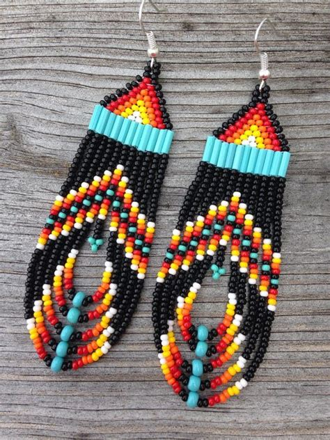American Style Black Multi Colored Beaded Earrings