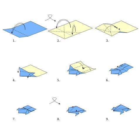 easy origami with rectangular paper origami types origami frog wikibooks open books