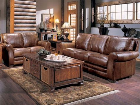 leather living rooms sets brown leather living room set with classic wooden table