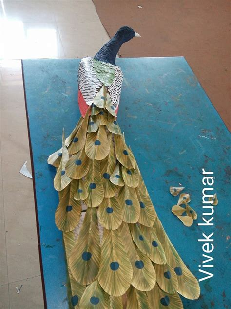 waste paper and craft how to make peacock wall from waste paper craft