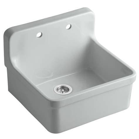kitchen sink porcelain shop kohler gilford 22 in x 24 in grey single basin