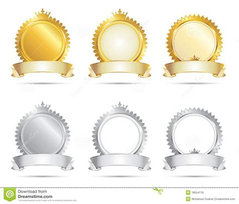 blank award templates approval seal gold amp silver set royalty free stock images