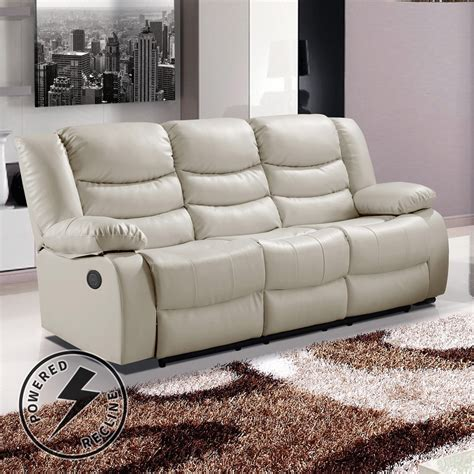 leather sofa electric recliner belfast ivory premium bonded leather electric