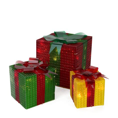light up gift box decoration 3 glistening prismatic gift box lighted