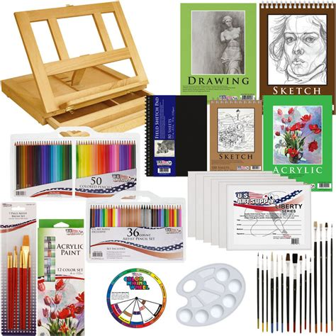 acrylic paint and canvas supplies 134pc deluxe acrylic paint sketch set easel draw pad
