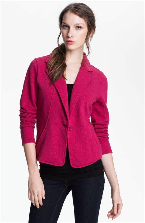 pink knit blazer caslon 174 three quarter sleeve knit blazer in pink