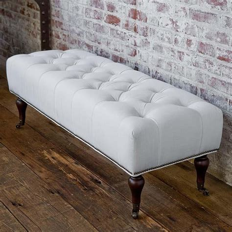 tufted bedroom bench andrew tufted white linen bench traditional