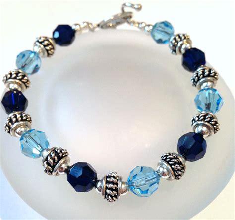 blue beaded bracelet blue swarovski bracelet beaded by sparkleandsplendor