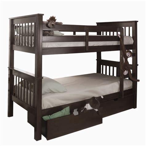 espresso bunk beds espresso size bunk bed with trundle storage