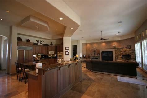 kitchen living room open floor plan knipp luxury 187 ultimate custom homes