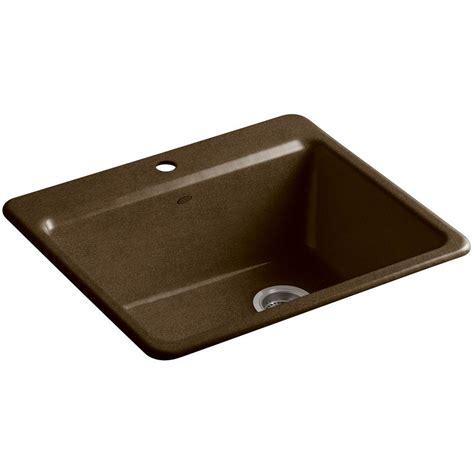 kitchen sink basin racks kohler riverby drop in cast iron 25 in 1 single bowl