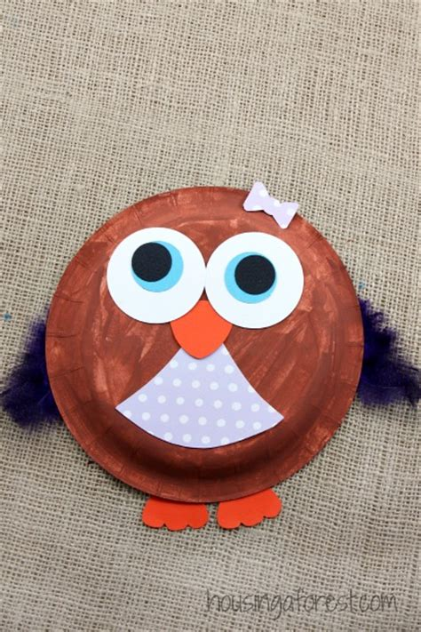 owl paper plate craft paper plate owl housing a forest