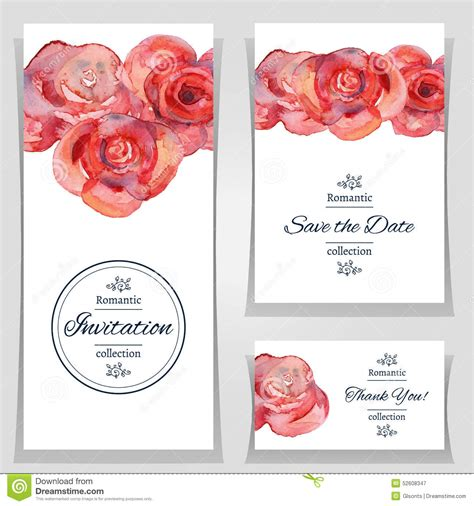 save the date or wedding invitation template with roses