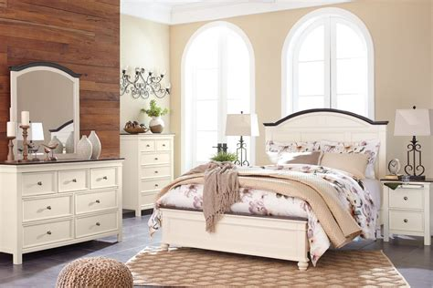 brown and white bedroom furniture woodanville white and brown panel bedroom set b623 57 54