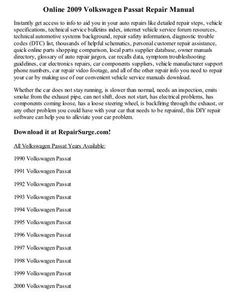 online car repair manuals free 1995 volkswagen passat engine control 2009 volkswagen passat repair manual online
