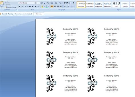 card on microsoft word how to create business cards in microsoft word 2007