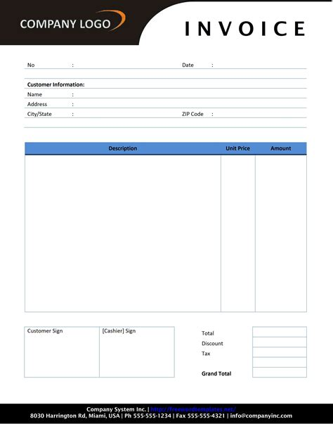 invoice receipt template word invoice example