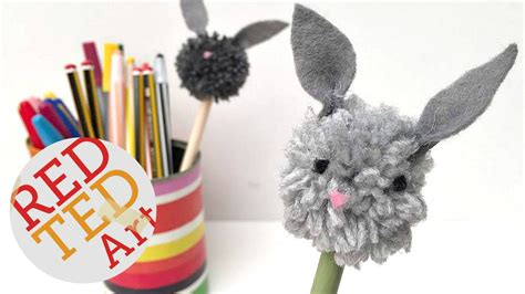pencil topper crafts for bunny pom pom pencil topper diy a and easy