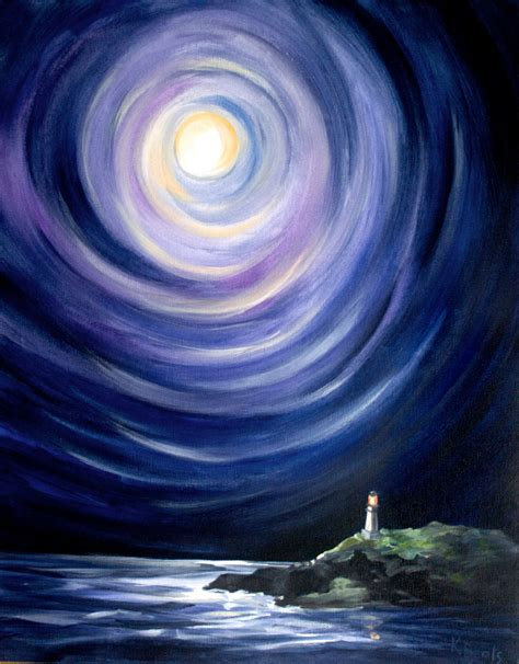 acrylic painting moon moon and a lighthouse landscape painting by kathrynbeals