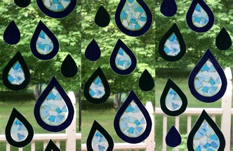 paper stained glass craft tissue paper stained glass raindrops homeschool companion