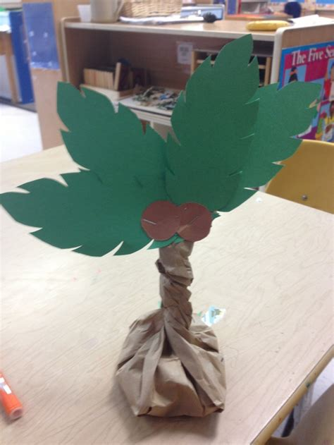 paper bag tree craft palm tree craft beans in a paper bag twist and staple