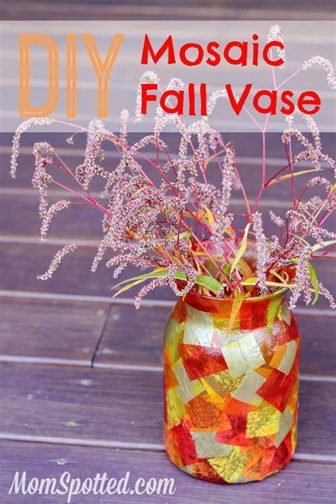 easy fall crafts diy mosaic fall vase easy mod podge autumn craft tutorial