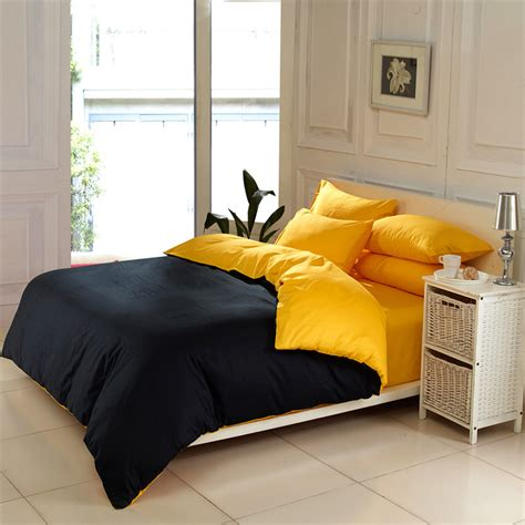yellow and black comforter sets solid color home textile black and yellow 4pc king